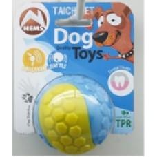 Мяч резиновый двухцветный с пишалкой и погремушкой 6,5 см