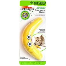 """Petstages игрушка для кошек Energize """"Желтый бумеранг"""" 16 см с кошачьей мятой"""