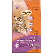 Мнямс Hairball&Indoor Сухой корм с ягненком для домашних кошек для выведения комков шерсти из желудка 400 г