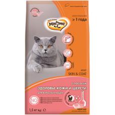 Мнямс Skin&Coat Сухой корм с лососем для взрослых кошек для кожи и шерсти 1,5 кг